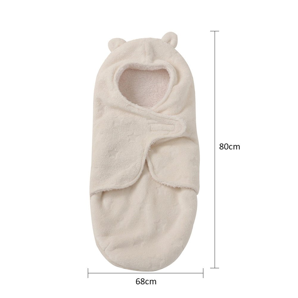Samber Infant Toddlers Wrap Quilt Baby Hooded Sleeping Bag Baby Wrap Swaddle Soft Cotton Blanket Thickened Bedding Newborn Baby Care Products Beige//A