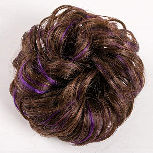 KING ARTHUR Elastic Hairband Wig Wavy Curly Messy Donut Chignons Hair Piece Wig Synthetic Hair Bun Extensions Messy Hairpieces for Women Girls Mom daughter light brown purple