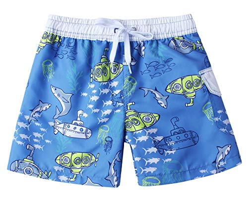 Size 8 Children Boys Swim Beach Board Shorts Trunks Fashion Denim Blue Grey Green White Submarine Jellyfish Fish Shark Seaweed Graphic Light Weight Summer Surfing Pool Party Bathing Suit Bottom (Submarine Bathing Suits)