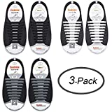 LEWEK No Tie Shoelaces for Kids Adults, Elastic Silicone Tieless Shoe Lace Stings, Waterproof Tie-Free Durable Rubber Shoelace for Sneaker Boots Board Shoes and Casual Shoes (Black+White+Gray)