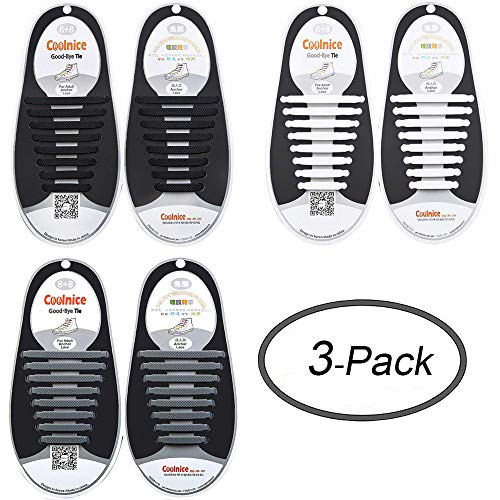 LEWEK No Tie Shoelaces for Kids Adults, Elastic Silicone Tieless Shoe Lace Stings, Waterproof Tie-Free Durable Rubber Shoelace for Sneaker Boots Board Shoes and Casual Shoes -