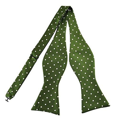 (Pensee Mens Self Bow Tie Green and White Polka Dot Jacquard Woven Silk Bow)