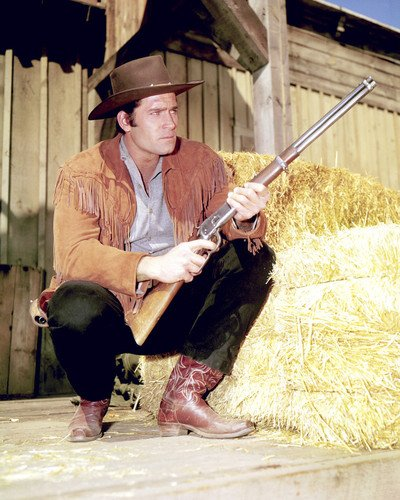 Clint Walker 8x10 Promotional Photograph s Cheyenne Bodie in Cheyenne classic western series posing with rifle (Promotional Classic Series)