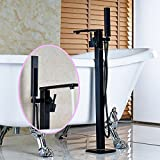 Senlesen Bathroom Mixer Tap Free Standing Floor Mounted Bathtub Filler Faucet with Hand Shower,Oil Rubbed Bronze