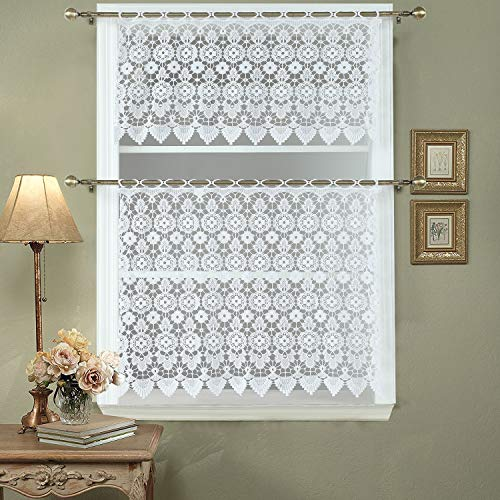 DS BATH Medallion Kitchen Curtain Tier,Macrame Kitchen Curtain Valance,Decorative Window Valance,1pc Valance Size:60