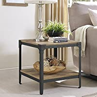Angle Iron Rustic Wood End Table, Set of 2 , Barnwood