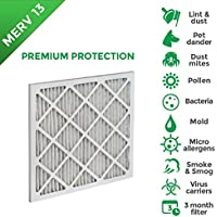 16x20x1 MERV 13 ( MPR 2200 ) AC Furnace Air Filters. 4 Pack