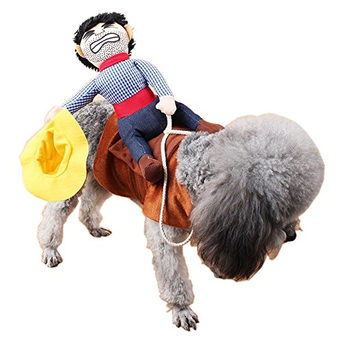 Little Red Riding Hood Hunter Costumes (Creative Riding Horse Pet Costume for Dog Cat Puppy Novelty Pet Clothes Halloween Cowboy Dog Apparel by PetIsay(M))