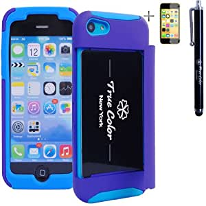 Rugged High Impact Credit Card Holder Wallet Soft + Hard Hybrid Combo Case Cover for Apple iPhone 5c + Stylus + Screen Protector - Purple & Blue