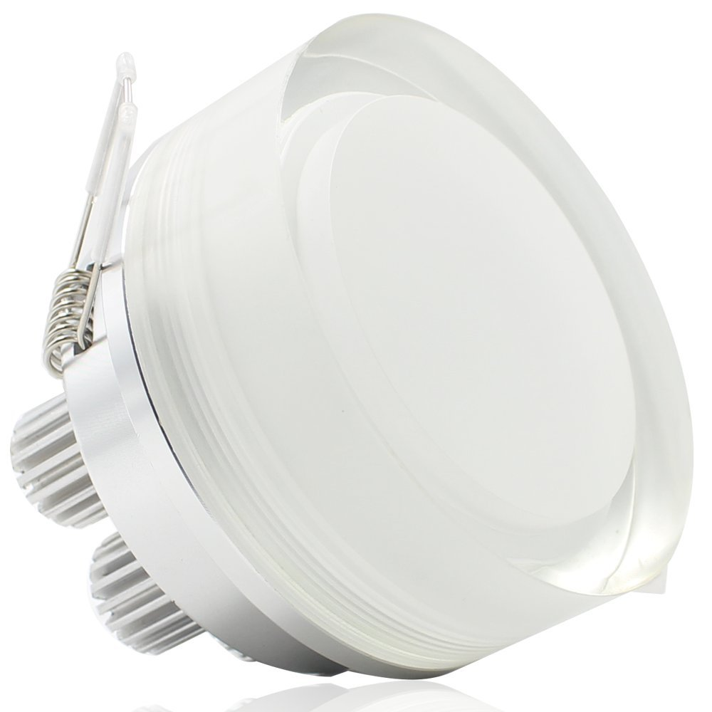 7W Acrylic LED Ceiling Light, 50W Halogen Equivalent, 450lm Daylight, 30 Degree Beam Angle, AC 85V-265V, Drivers included, Round Shape LED Recessed Light for Indoor General and Display Lighting by TORCHSTAR