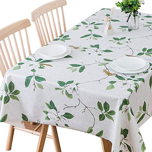 """JZY Heavy Duty Vinyl Table Cloth for Kitchen Dining Table Wipeable PVC Tablecloth for Rectangle Table (54"""" x 84"""", Green Leaves)"""
