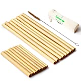"Organic Reusable Bamboo Straws with Coconut Fiber Brush 8.7'' and 5.1"" Drinking Biodegradable Kids Adults 
