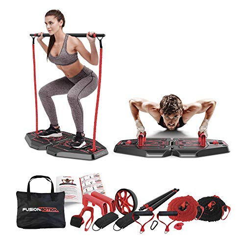 Fusion Motion Portable Gym with 8 Accessories Including Heavy Resistance Bands, Tricep Bar, Ab Roller Wheel, Pulleys and More – Full Body Workout Home Exercise Equipment to Build Muscle and Burn Fat