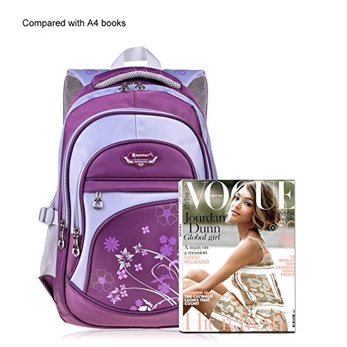 Vbiger Girl's & Boy's Backpack for Middle School Cute Bookbag Outdoor Daypack (Purple 1) by VBIGER (Image #6)