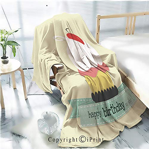AngelSept Printed Throw Blanket Smooth and Soft Blanket,Cup Cake for Birthday for Sofa Chair Bed Office Travelling Camping,Kid Baby,W31.5 x H47.2