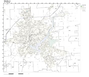 Amazon Com Zip Code Wall Map Of Decatur Il Zip Code Map Laminated