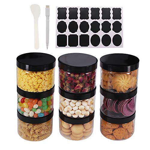 8 Pack 8 OZ Round Clear Plastic Jars With Black Lids, A Spatula, A Pen & Labels - BPA Free PET Container for Cosmetics, Cream, Bathroom, Kitchen, Gifts & Travel Plastic Slime Storage Jars by ZMYBCPACK from ZMYBCPACK