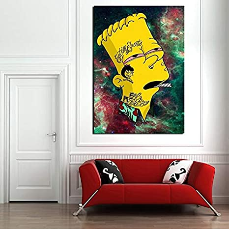 YuanMinglu Cartoon Bart on Weed Wallpaper Tela Pittura a Olio Stampa Soggiorno Decorazione Moderna casa Pittura a Olio Sala Poster Foto Pittura Frameless 24x36 cm