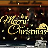 Gold christmas decorations wall stickers glass windows stickers window grilles merry christmas,150x63cm