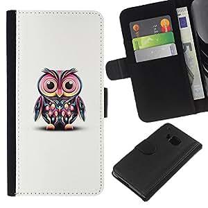 HTC One M7 Modelo colorido cuero carpeta tirón caso cubierta piel Holster Funda protección - White Cute Pink Teal Minimalist Smart Teach