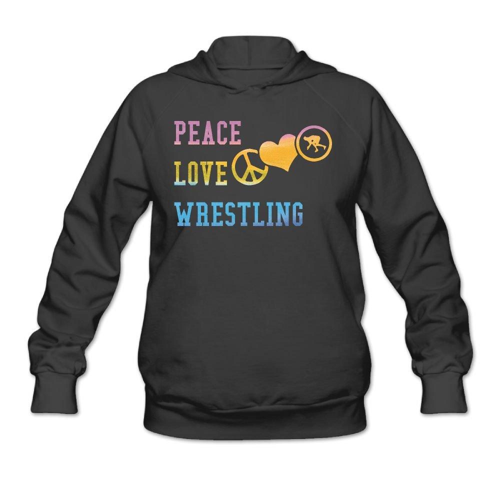 Peace Love Wrestling Womens Long Sleeve Simple Style Hoodie Sweatshirt Jumper Casual Hooded Pullover