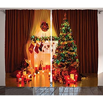 Christmas Curtain Decor Christmas Decorations For Window By Ambesonne,  Christmas Tree Stockings Candles Gift Boxes Part 36