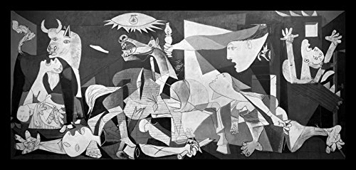 buyartforless IF MUS250X 18x8 1.25 Black Framed Guernica 1937 by Pablo Picasso 18X8 Museum Art Print Poster (Picasso Pablo Guernica)
