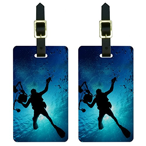 Diving Luggage Tag (Graphics & More Scuba Diver-Diving Underwater Luggage Tags Suitcase Carry-on Id, White)