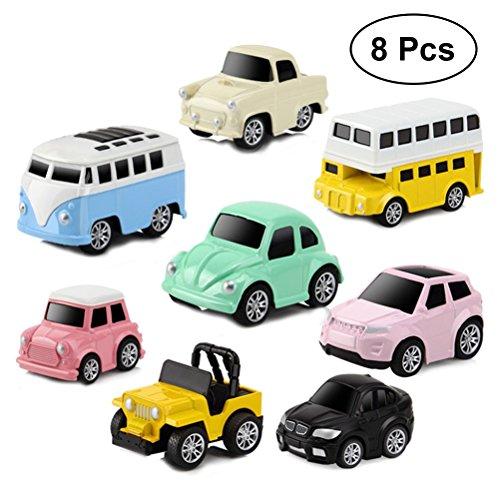TOYMYTOY Kids Pull-Back Vehicle Set - Soft Baby Toy Set With 8 Cars (Random)