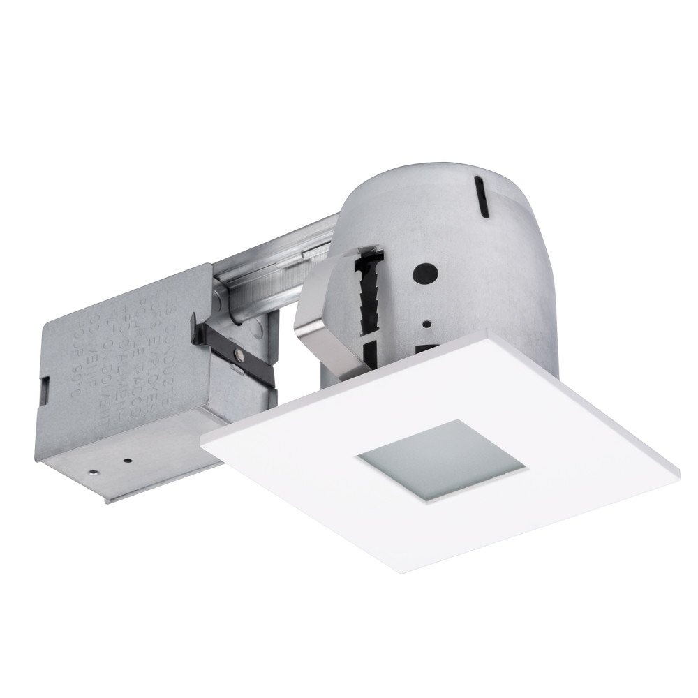 4'' LED IC Rated Bathroom Shower Dimmable Downlight Recessed Lighting Kit, White Finish, Round Tempered Frosted Glass, 1x GU10 LED Bulb Included, Easy Install Push-N-Click Clips, Globe Electric 90950