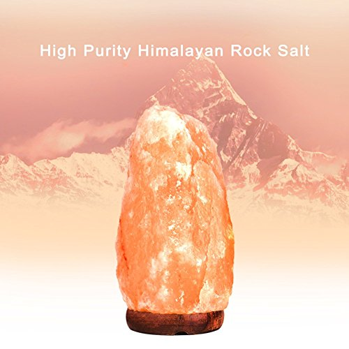 PULNDA Himalayan Salt Lamp PULNDA Glow Natural Hand Carved Rock Salt Lamp With Neem Wood Base/Bulb And Dimmer Control, Crystal, Amber, 8 - 9-Inch For Lighting, Decoration And Air Purifying by PULNDA (Image #2)