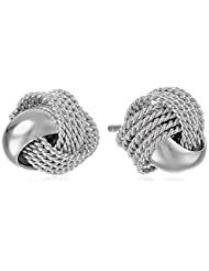 Sterling Silver Mesh Love Knot Stud Earrings