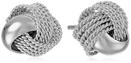 Sterling Silver Polished Mesh Knot Earrings