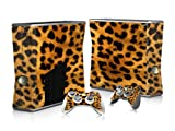 Vinyl Decal Protective Sticker Skin for Microsoft Xbox 360 Slim and 2 Controllers Skins-cheetah Leopard Animal Yellow