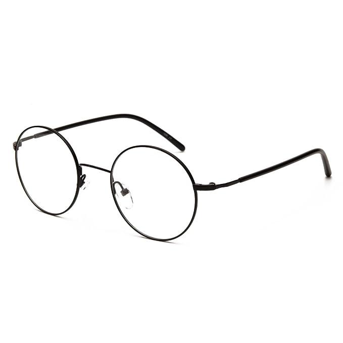 Amazon.com: Lanfu Round Retro Clear Frame Glasses With Plastic Lens ...