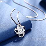 """J.Rosée Pendant Necklace with 925 Sterling Silver and 3A Cubic Zirconia and Matching Stud Earrings, 18""""+2"""" Extender Chain, Jewelry Gifts for Women Girls"""