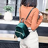 DDLBiz Mini Fur Ball Backpack Fashion Shoulder Bag Solid Women Girls Travel School Bags (Green)