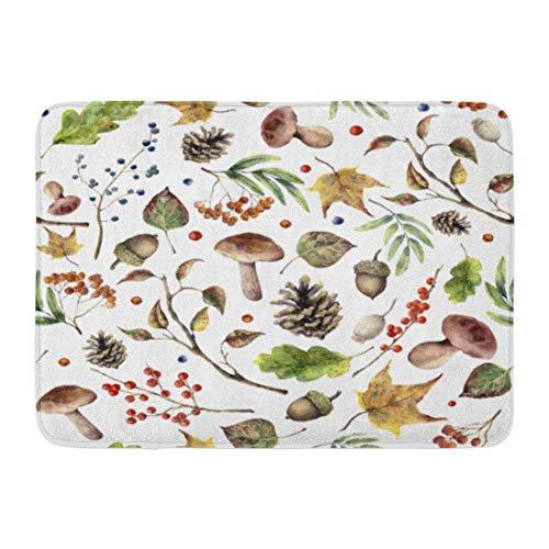 - WORLDWOOD Doormats Bath Rugs Outdoor/Indoor Door Mat Watercolor Autumn Forest Pattern Hand Mushroom Rowan Fall Leaves Tree Branch Pine Cone Berry and Acorn Bathroom Decor Rug 15.7x23.6 inch/60x40cm
