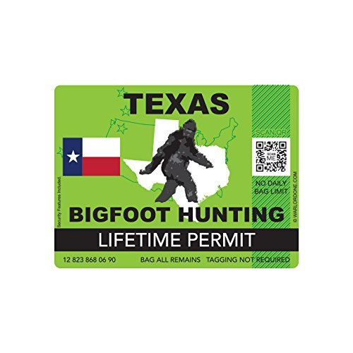 Texas Bigfoot Hunting Permit Sticker Die Cut Decal Sasquatch Lifetime FA Vinyl