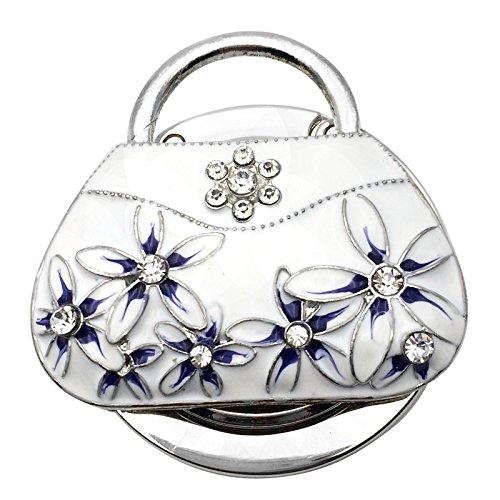 Reizteko Purse Hook,Oil Painting Handbag with White Flower Foldable Handbag Purse Hanger Hook Holder for Tables (Pack of 6)