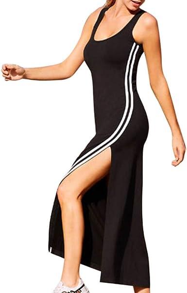 Angelof Robe Debardeur Femmes Solides Noir Split Sans Manches Mince Gilet Robe De Plage Longue Rayures Chic Robe Noir Moulante Amazon Fr Vetements Et Accessoires