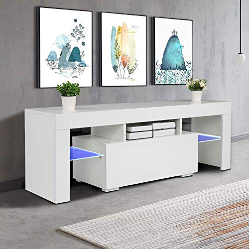 Bonnlo Modern TV Stand with LED Light for 55 Inch TV LED TV Stand TV Cabinet Media Storage Console Table with Drawer and Shelves for Living Room Bedroom Furniture, White