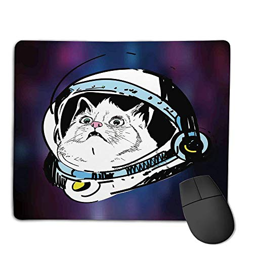 Premium-Textured Mouse Mat,Non-Slip Rubber Mousepad Waterproof,Outer Space Decor,Kitten in Astronaut Hat Looks at Cosmic Rays UFO Celestial Body Theme,Purple White,Applies to Games,Home, School,offi