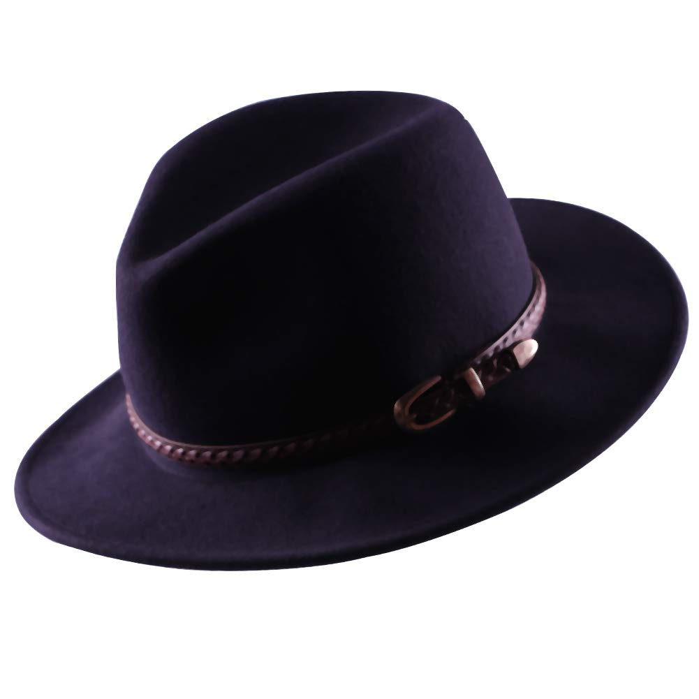 Wool Fedora Hat Women's Felt Panama Crushable Vintage Style with Leather Band A Great (Navy Blue)