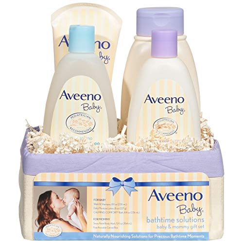 (Aveeno Baby Daily Bathtime Solutions Gift Set to Nourish Skin for Baby and Mom, 4)