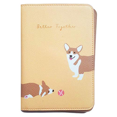 - Passport Holder Travel Wallet ID Case PU Leather Passport Cover Note Welsh Corgi