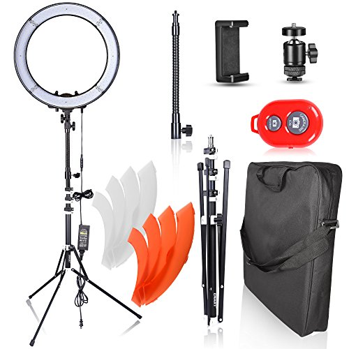 18' High Stand (Emart 18 inch LED Ring Light with Stand, 55W Dimmable 240 pcs SMD LED 5500K Circle Makeup Lighting Kit for Photography Camera Photo Studio, YouTube Video Shooting, iPhone Selfie – Standing Ring Light)