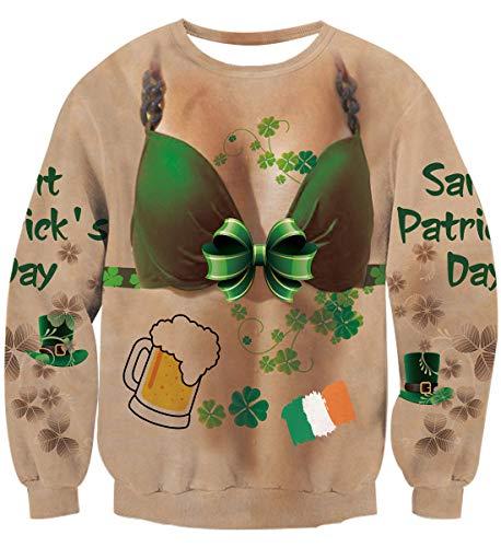 Idgreatim Women Lucky Shamrock Ireland Clover Sweatshirt Long Sleeve St.Patrick's Party Couples Shirt Green M