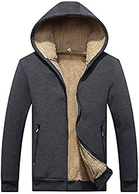 Mstyle Mens Casual Warm Winter Hoodie Full-Zip Thicken with Velvet Longline Down Jacket