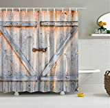 Rustic Antique Country Decor Collection Wooden Garage Door Mold Resistant Digital Printing Bathroom Shower Curtain Decor Art Prints Waterproof Polyester (Wooden Garage Door)